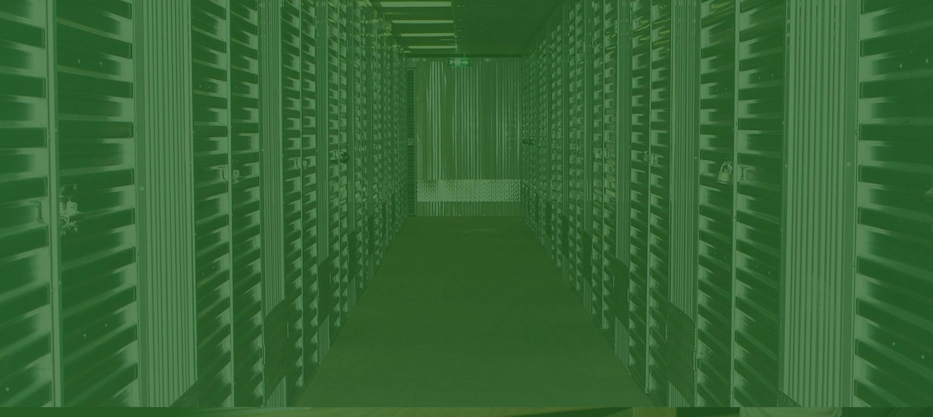 an image of storage units with a green hue for the banner