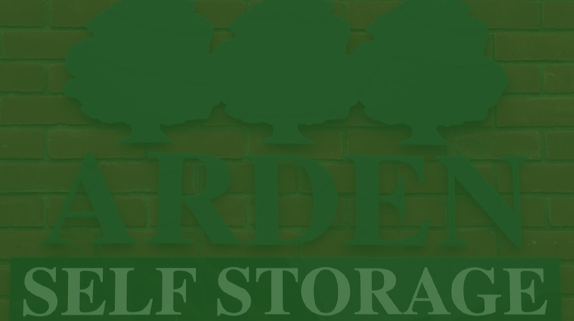 an image of the Arden Self Storage sign with a green hue