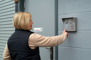 an image of a customer gaining access to the Arden Self Storage facility via our keypad entry system