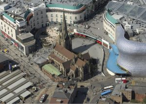 an image of the Bullring from above