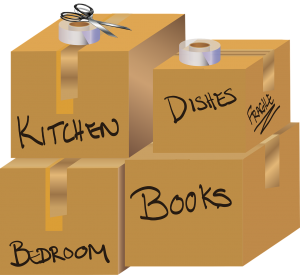Image of moving house boxes all labelled with different rooms