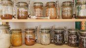 image of mason jars on a storage shelf in the kitchen