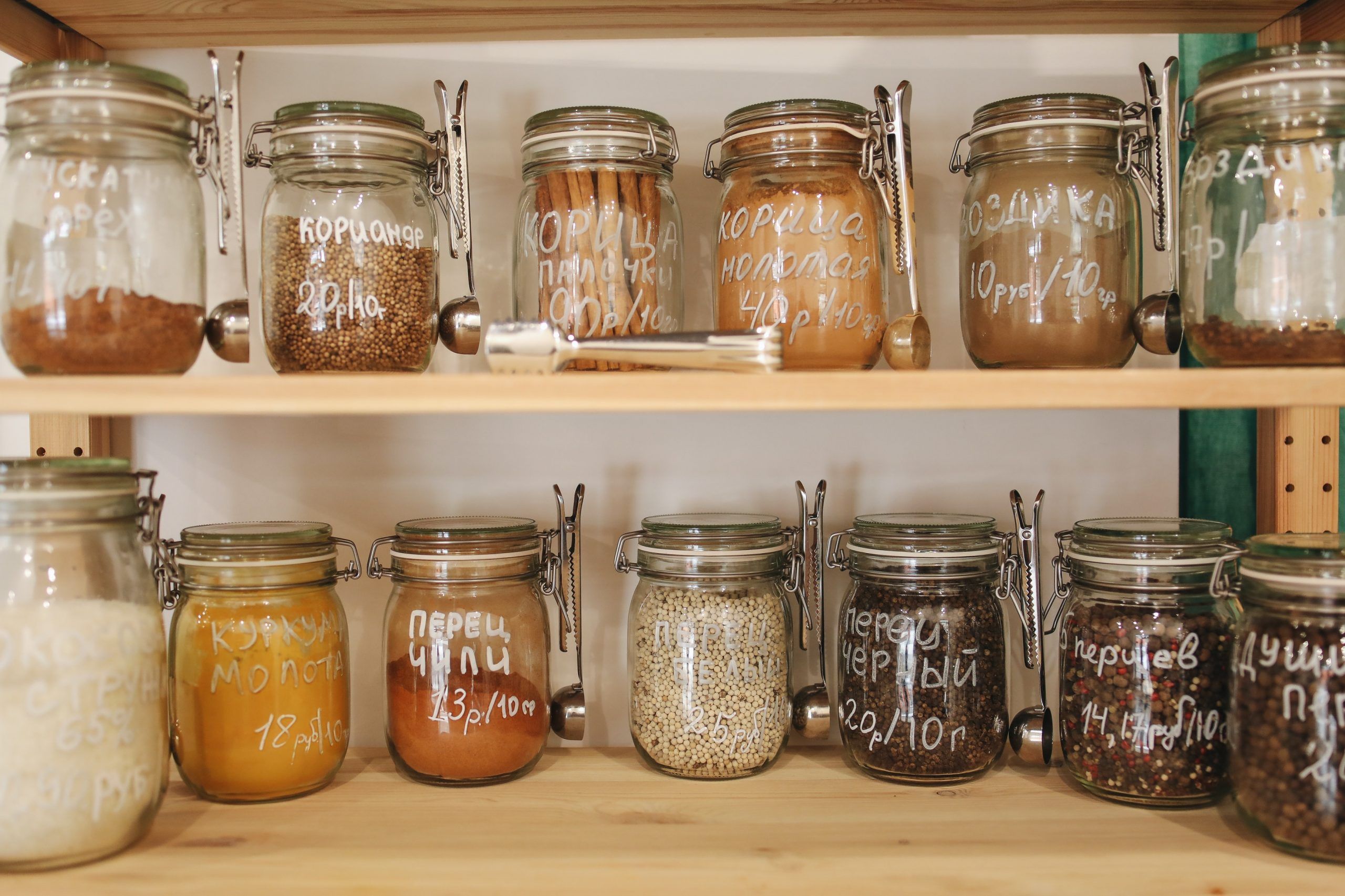 image of mason jars on a storage shelf in the kitchen